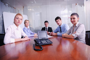 business people group have video meeting at office